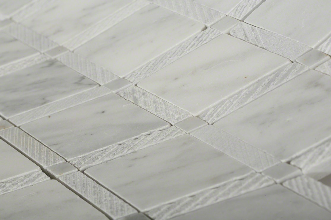 Imperial Texutred White Carrera Marble Tiles Glass And