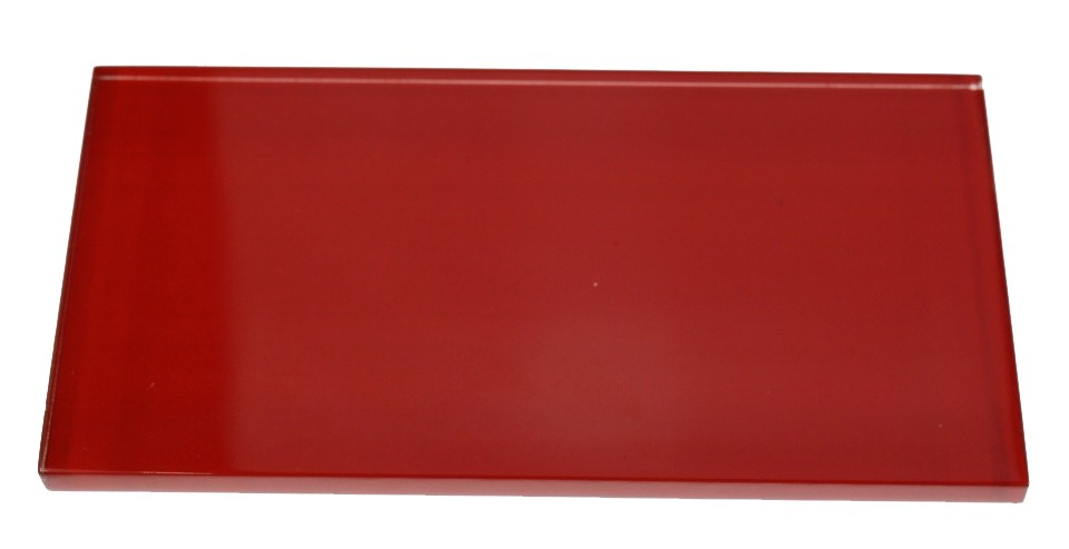 shop for loft cherry red polished 3x6 glass tile at