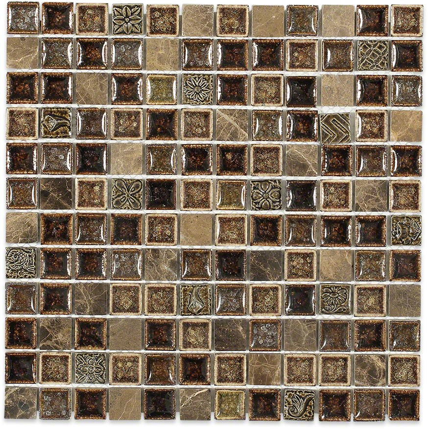 Shop 12x12 roman collection burnt russet square mosaic in a blend of cracked dark brown stone