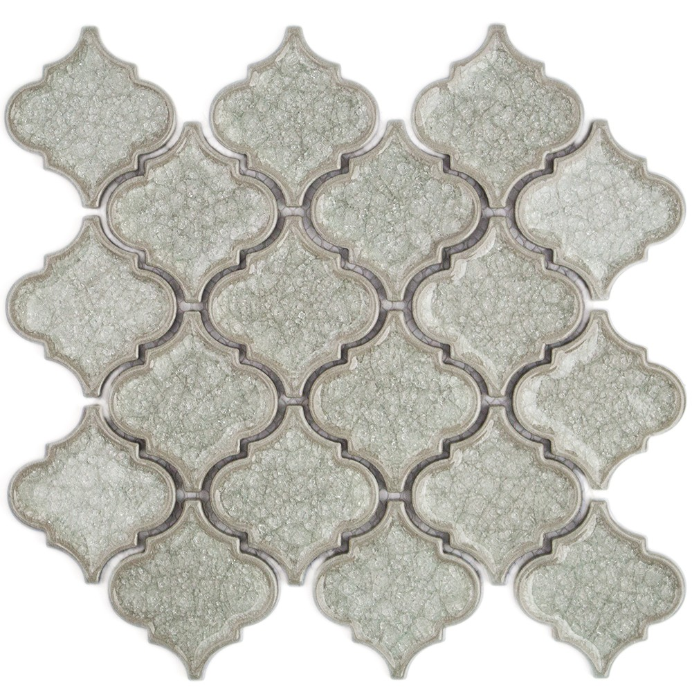 Roman Collection Frosty Morning Arabesque Glass Tile