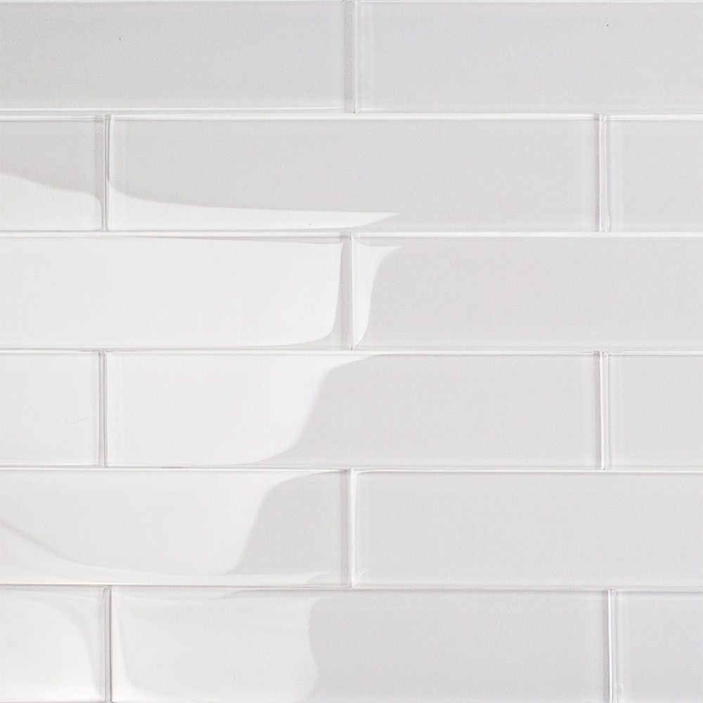 shop for loft super white 2x8 polished glass tiles at
