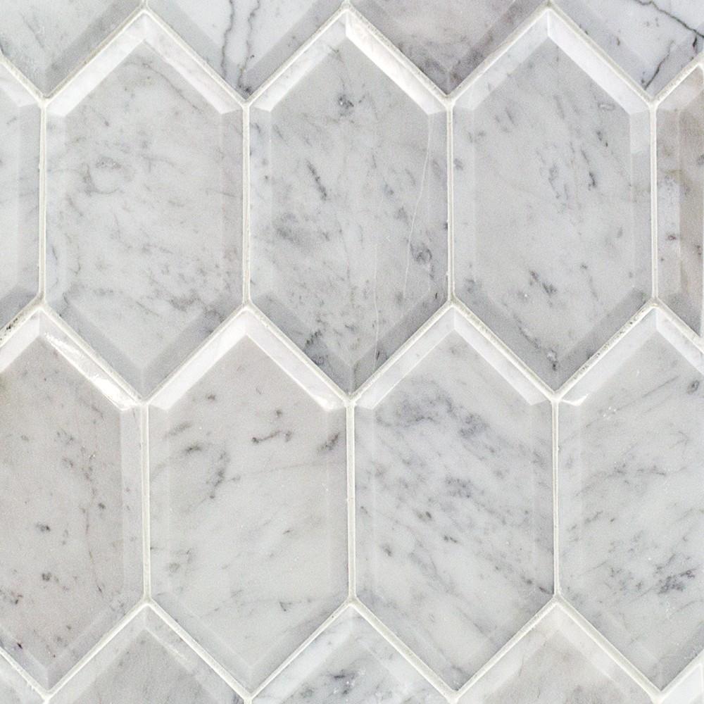Carrara Marble Tile : Shop for beveled white carrara hexagon polished marble