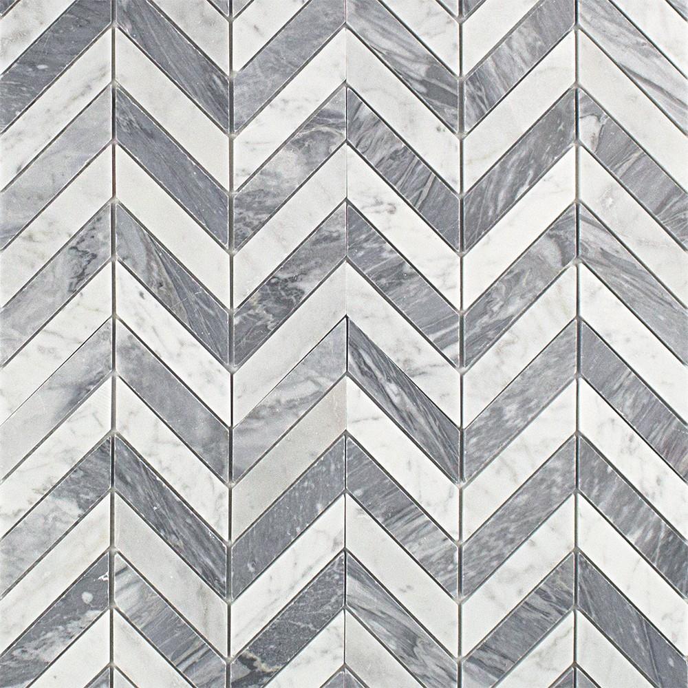 Sample Carrara White Marble Gray Glass Linear Mosaic: Talon White Carrera And Bardiglio Marble Tile