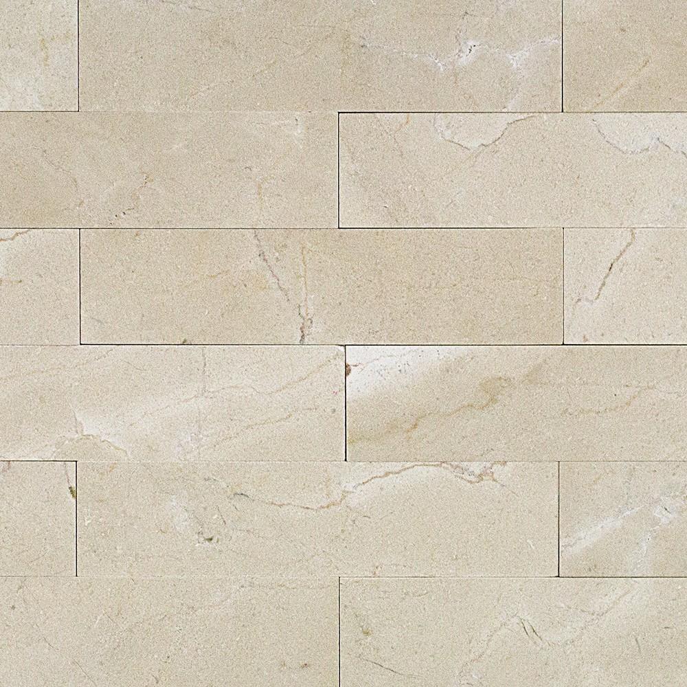 Shop 9 Pcs Sq Ft Crema Marfil 2x8 Brushed Stone Tile At