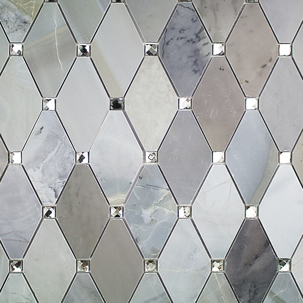 Reflection moonstone marble and mirrored glass tile for Mirror tiles