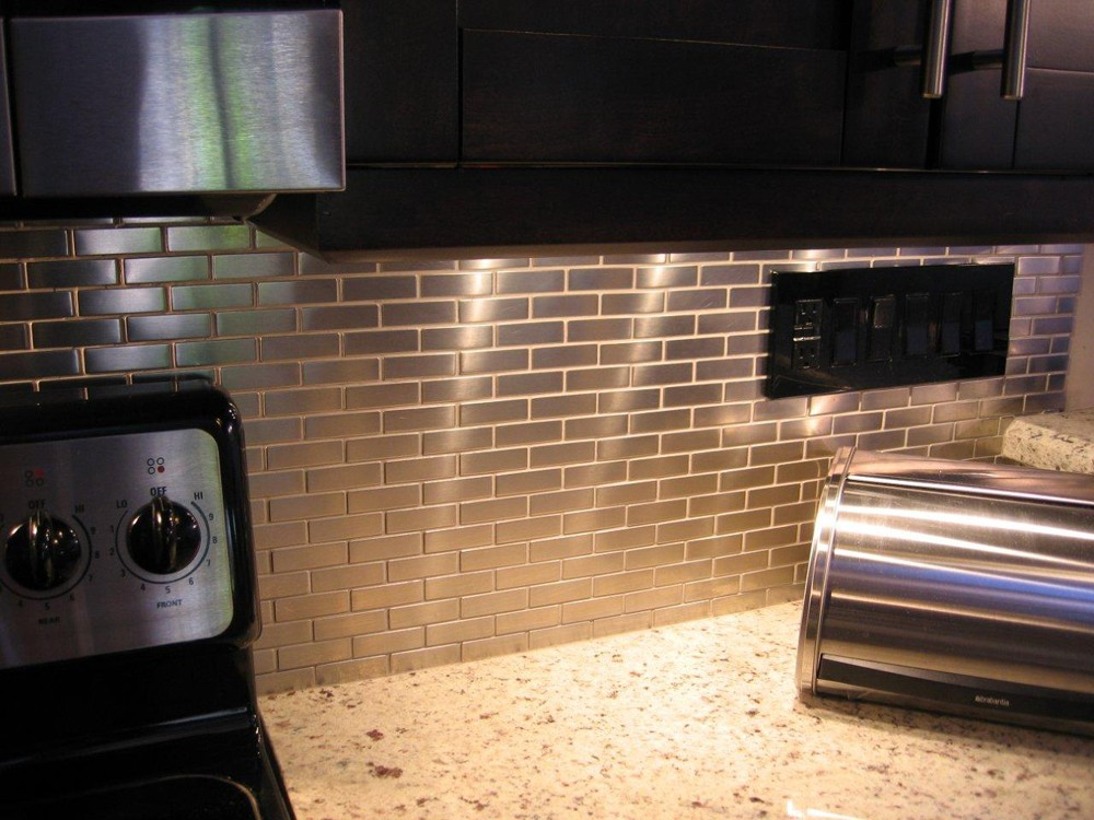 Shop For Stainless Steel 75 X2 5 Metal Tile Brick Pattern At