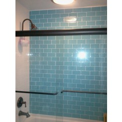 "Loft Turquoise Polished 3"" X 6"" Glass Tiles"
