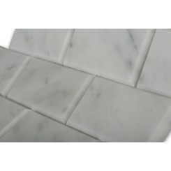 White Carrera Beveled 2x4 Marble Tile