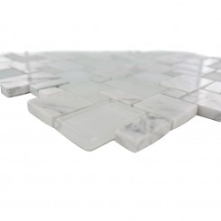 Breeze Carrera  Ice  Piazza Pattern Glass and Marble Mosaic Tile