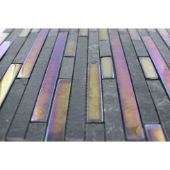 Geological Tao Black Slate & Rainbow Black Glass Tiles