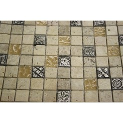 Fusion Camellia 1x1 Marble & Metal Tiles With Silver Deco