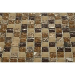 Barrel Brown Blend 1/2x1/2 Marble & Glass Tile