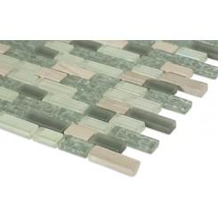 "Constellation Blend Brick Pattern 1/2""x2"" Marble & Glass Tile"
