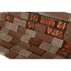 Brick Pattern Copper Clay Blend 1/2x2 Marble & Glass Tile Brick