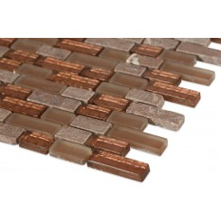 Copper Clay Blend 1/2x2 Brick Marble & Glass Tile
