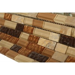 "Golden Road Blend Bricks 1/2"" X 2"" Marble & Glass Mosaic Tile"