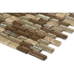 "Brick Pattern Leather Boot Brown Blend 1/2"" X Random"" Marble & Glass Tile Brick"