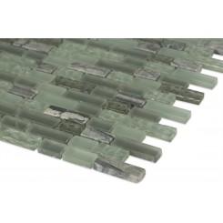 Misted Green Blend Brick Pattern 1/2x2 Marble & Glass Tile Bricks