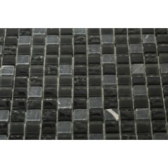 "Nightlight Black Blend 1/2"" X 1/2"" Marble & Glass Tile"
