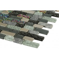 Nimbus Gray Blend Bricks Marble & Glass Tile