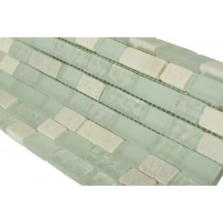 "Seaspray Blend Brick Pattern 1/2"" X 2"" Marble & Glass Tiles"