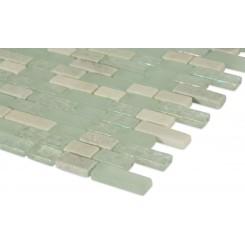 "Seaspray Blend Brick Pattern 1/2"" X 2"" Marble & Glass Tiles"