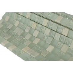 "Seaspray Blend Squares 1/2"" X 1/2"" Marble & Glass Tiles"