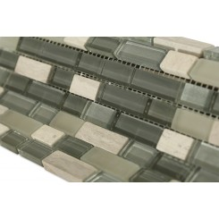 "Silver Fog Blend Bricks 1/2"" X 2"" Marble & Glass Tile Brick Pattern"