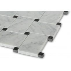 Arbor White Carrera With Black Dot Marble Tile