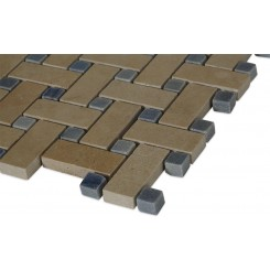 Basket Weave Jerusalem Gold Marble Mosaic Tile With Blue Macauba Dot