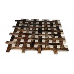 Basket Weave Dark Emperador & Crema Marfil Marble Mosaic Tile