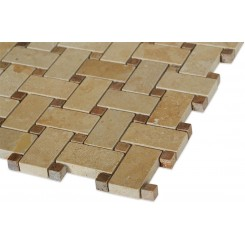 Basket Weave Jerusalem Gold & Wood Onyx Marble Mosaic Tile