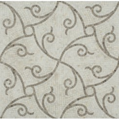 Scroll Calacatta and Lady Gray Marble Tile