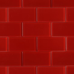 Loft Cherry Red Polished 3x6 Glass Tile