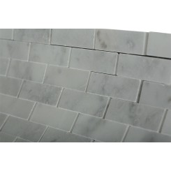 White Carrera 1/2x2 Marble Tile