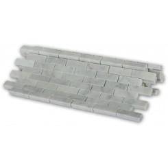 White Carrera 1/2x2 Marble Tile