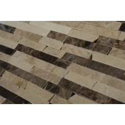 Cafe Au Lait Cracked Joint Brick Layout Marble Mosaic Tile