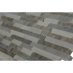 Vanilla Chai Cracked Joint Classic Brick Layout Marble Tiles