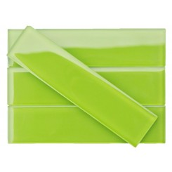 Loft Electric Lime 2x8 Polished Glass Tiles