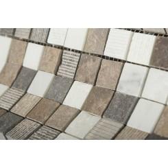 Esker Walnut Bark Squares Marble Tile