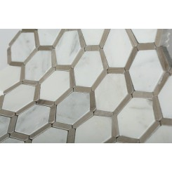 Florentine Asian Statuary Marble Tile With Athens Gray Line