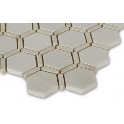 Florentine Pearl White Thassos Marble and Pearl Glass Tile