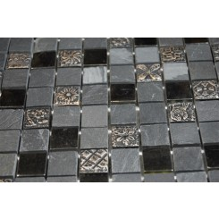 Fusion Kousa 1x1 Marble  Glass  & Metal Tiles