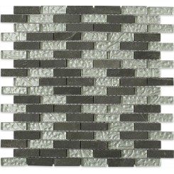 Sample- Geological Brick Black Slate & Silver Glass Tiles Sample