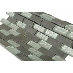 Geological Brick Black Slate & Silver Glass Tiles