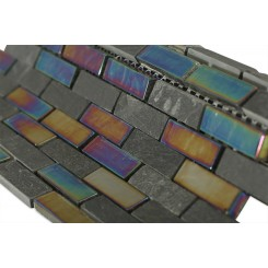 Geological Brick Black Slate & Rainbow Black Glass Tiles