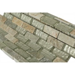 Geological Brick Green Quartz Slate & White Gold Glass Tiles