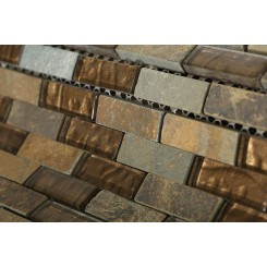 Geological Brick Multicolor Slate & Bronze Glass Tiles