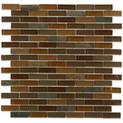 Sample- Geological Brick Multicolor Slate & Earth Blend Glass Tiles Sample