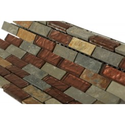 Geological Brick Multicolor Slate & Rust Glass Tiles